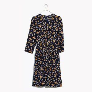 Madewell Petal Party Silk Shirred Keyhole Dress 12